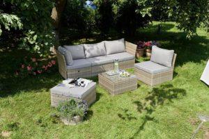 Greemotion Rattan Gartenmoebel Set Lounge 6 teilig grau