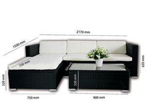 Polyrattan Lounge Gartenmöbel - Abmessungen